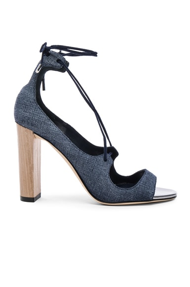 Jimmy Choo Leather Vernie Heels in Light Indigo & Steel