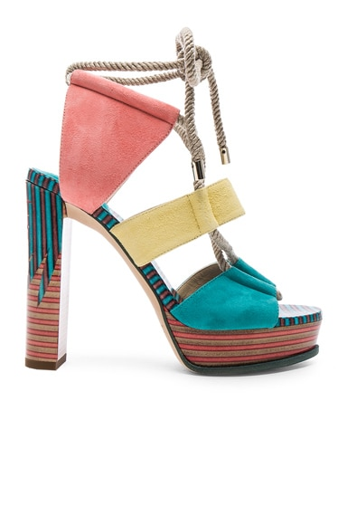 Jimmy Choo Suede Halley Heels in Malibu Multi