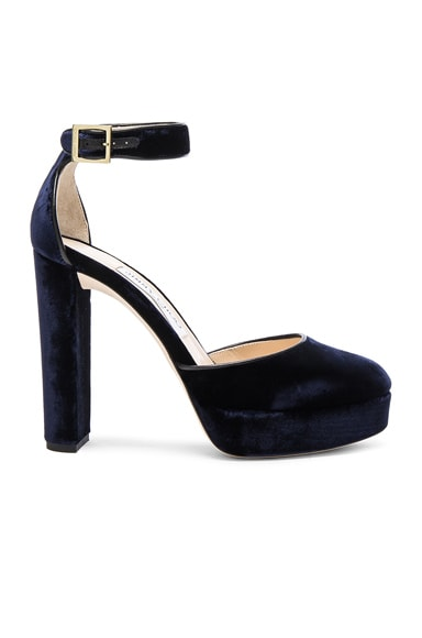 Jimmy Choo Velvet Daphne Heels in Navy
