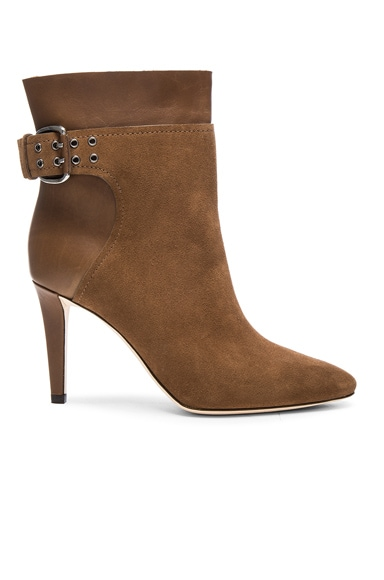 Jimmy Choo Suede Major Booties in Khaki Brown