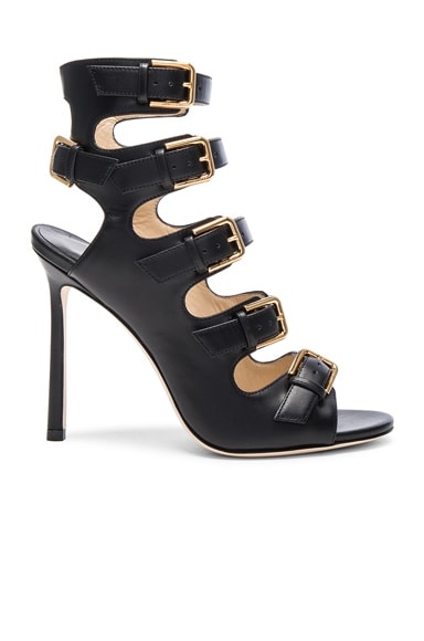 Jimmy Choo Leather Trick Heels in Black