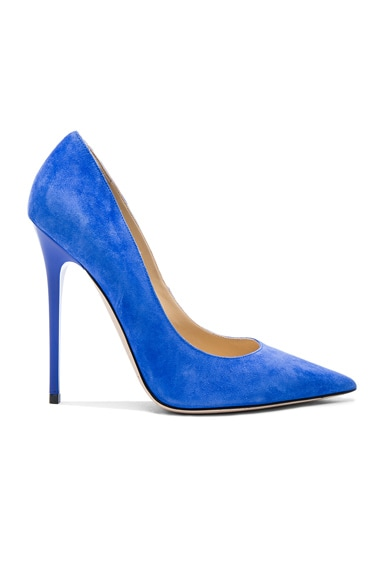 Jimmy Choo Suede Anouk Pumps in Cobalt