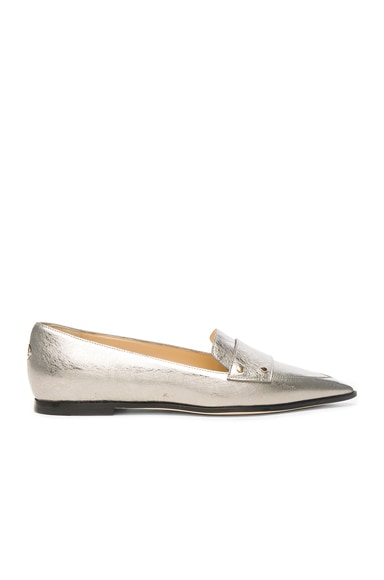 Jimmy Choo Leather Gia Flats in Vintage Silver