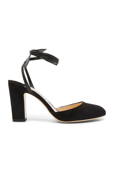 Jimmy Choo Suede Lucia Heels in Black