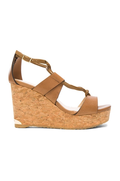 Jimmy Choo Leather Nelson Wedges in Tan