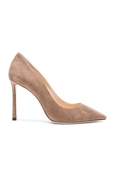 Jimmy Choo Suede Romy Heels in Light Mocha