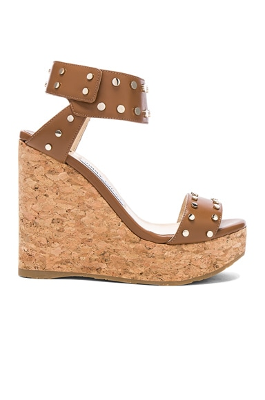 Shiny Leather Nelly Wedges with Studs