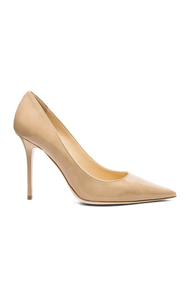 Jimmy Choo Abel Pointed Patent Leather Pumps in Nude
