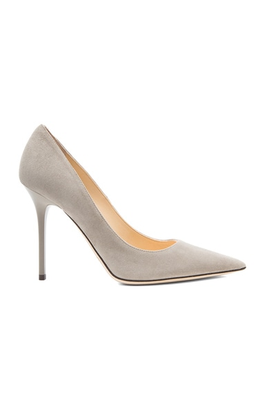 Jimmy Choo Abel Pointed Suede Pumps in Pebble