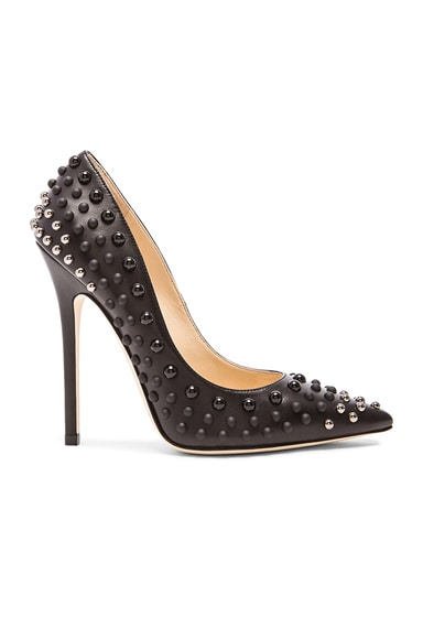 Jimmy Choo Anouk Leather Pumps in Black & Silver