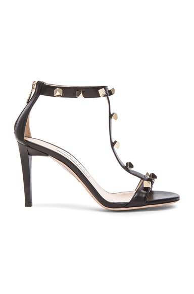Jimmy Choo Lamba Cube Studded Leather Heels in Black