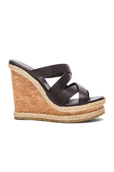 Jimmy Choo Prisma Leather Wedges in Black