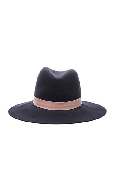 Janessa Leone Quartz Hat in Raven & Blush