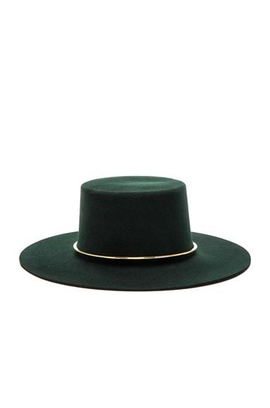 Janessa Leone Crisiant Hat in Deep Green