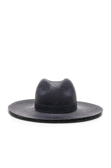 Janessa Leone Chloe Wide Brimmed Panama in Navy