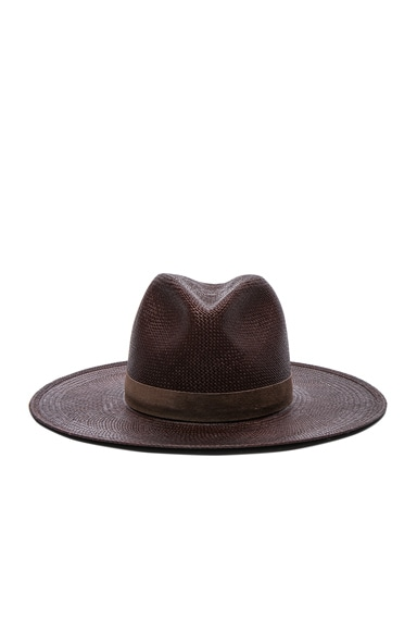 Janessa Leone Mallary Short Brimmed Panama Hat in Chestnut