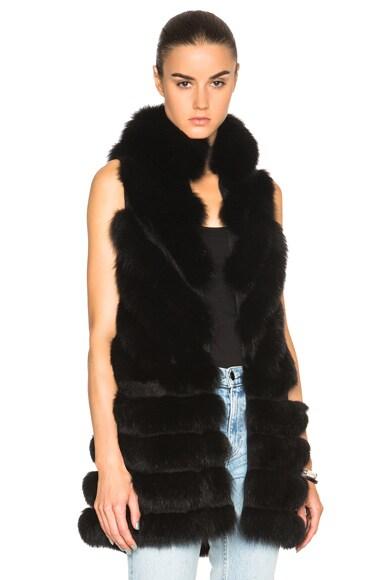 J. Mendel Shadow Fox Long Vest in Black