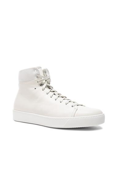 JOHN ELLIOTT Leather High Top Sneakers in White