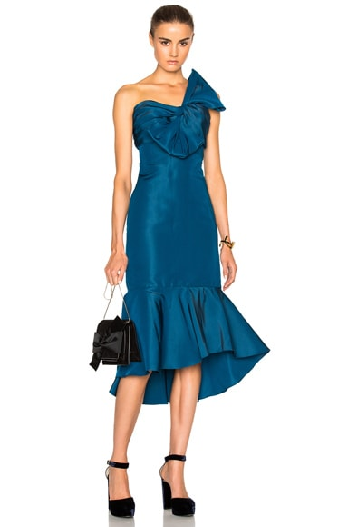 Johanna Ortiz Blue Coral Dress in Silk Faille
