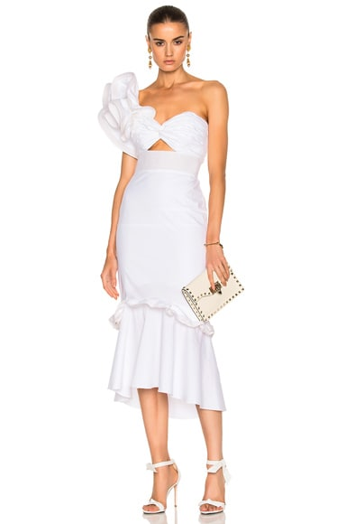 Johanna Ortiz Maloka Cotton Poplin Dress in White