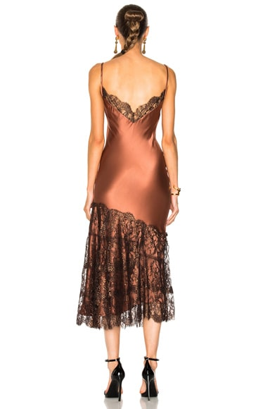 La Maria Silk Charmeuse Embroidered Dress in Bronce