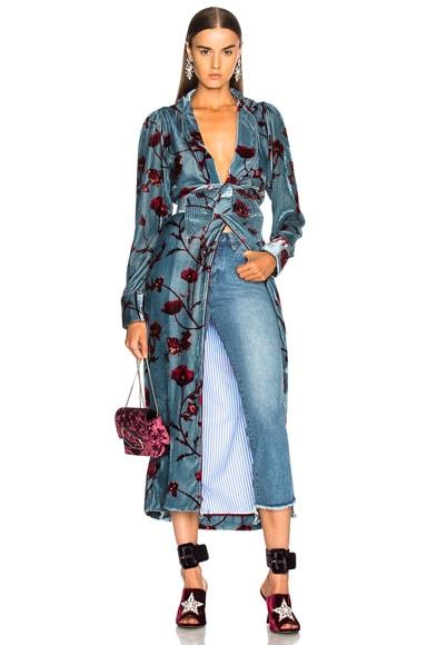 Florari Printed Silk Rayon Velvet Belted Kimono