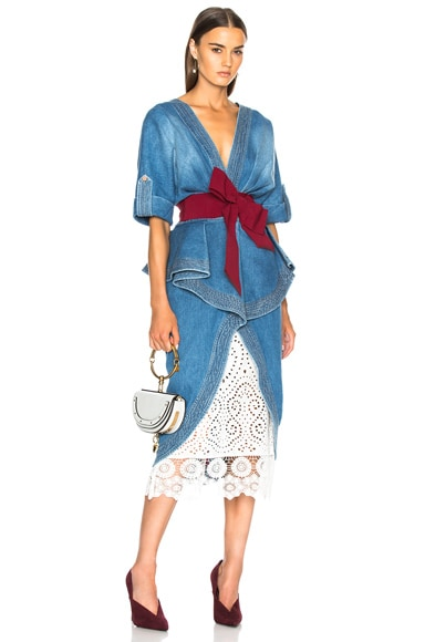 Nuevo Mexicana Cotton Denim Trench Coat with Belt and Underskirt