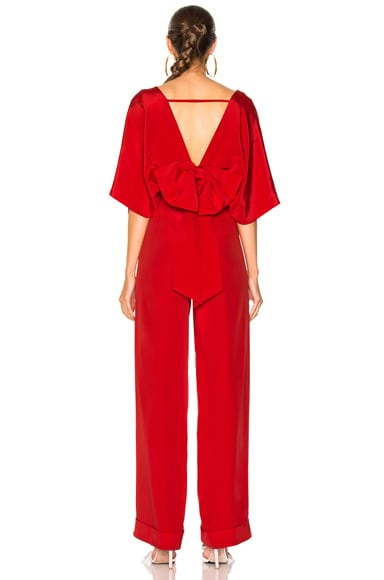 Red Canna Silk Crepe Jumpsuit
