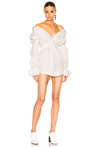 JACQUEMUS Shirt Dress in Blue &  Off White