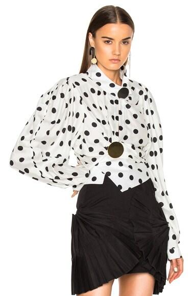 JACQUEMUS Gold Button Detail Shirt in White & Black Dots