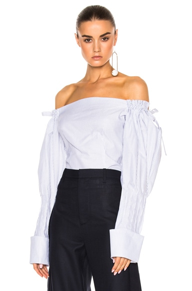 JACQUEMUS Off The Shoulder Top in Blue Stripe & White
