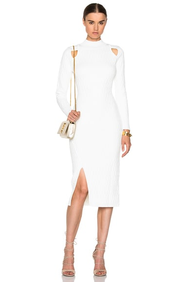 JONATHAN SIMKHAI Quilted Turtleneck Dress in Ivory