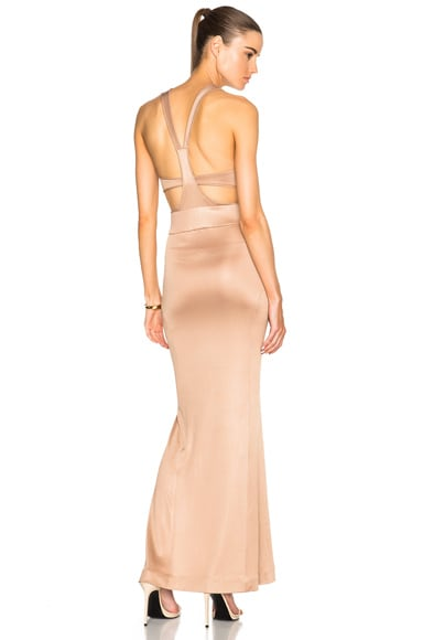 JONATHAN SIMKHAI Belted Milano Dress in Nude