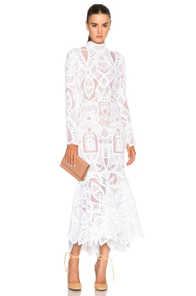 JONATHAN SIMKHAI Tower Lace Dress in White