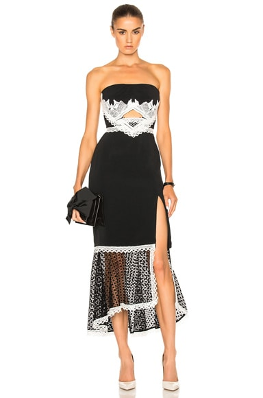 JONATHAN SIMKHAI Window Pane Lace Dress in Black & White