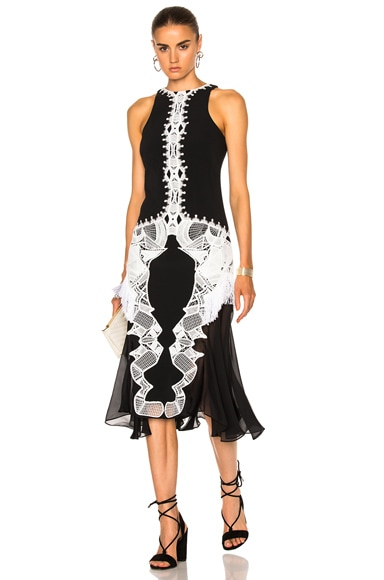 Lace Crepe Applique Dress