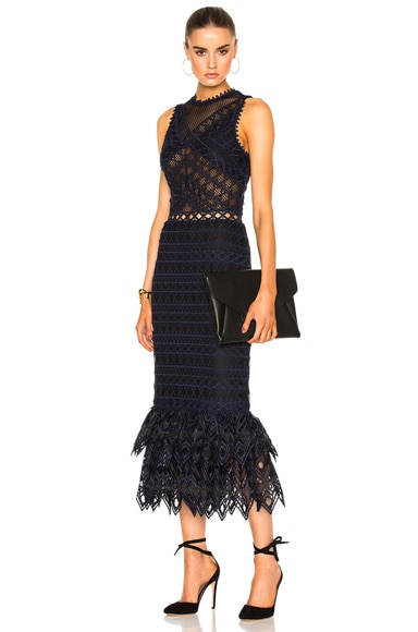 JONATHAN SIMKHAI Lattice Embroidered Dress in Navy Combo