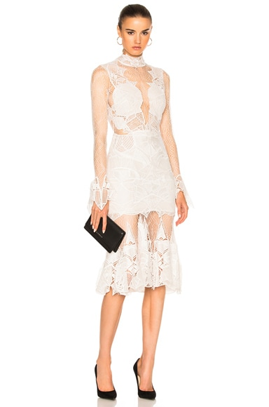 JONATHAN SIMKHAI Linear Dome Lace Dress in Ivory