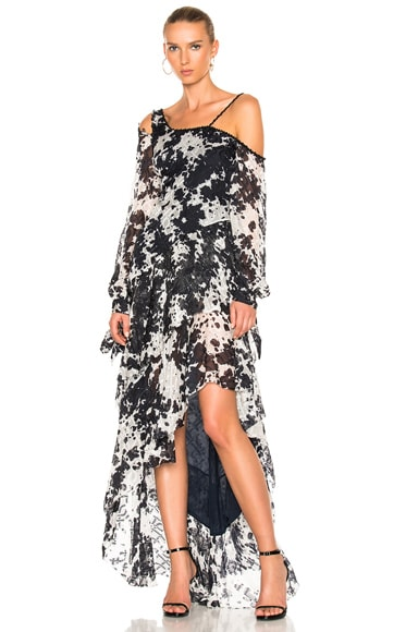 Silk Tie Dye One Shoulder Gown
