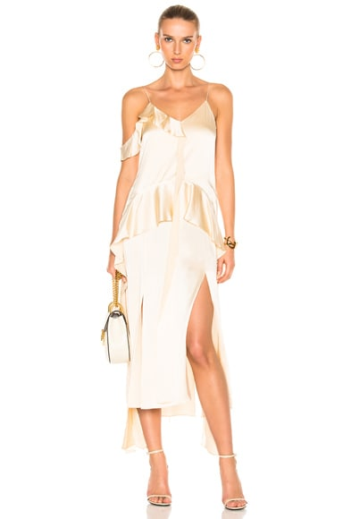JONATHAN SIMKHAI Silk Ruffle One Shoulder Ruffle Midi Dress in Stone
