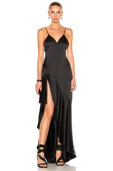 JONATHAN SIMKHAI Silk High Low Gown in Black