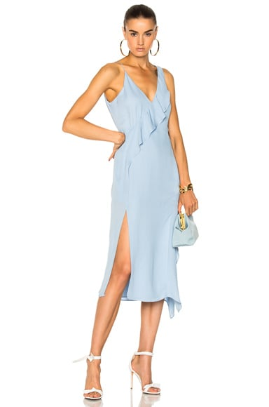 Draped Silk Hanging Ruffle Dress