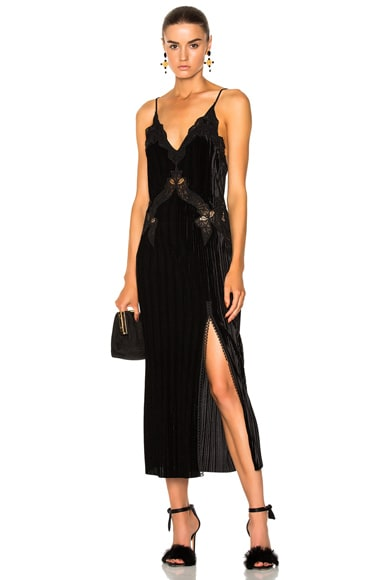 Crinkled Velvet Applique Deep V Midi Dress