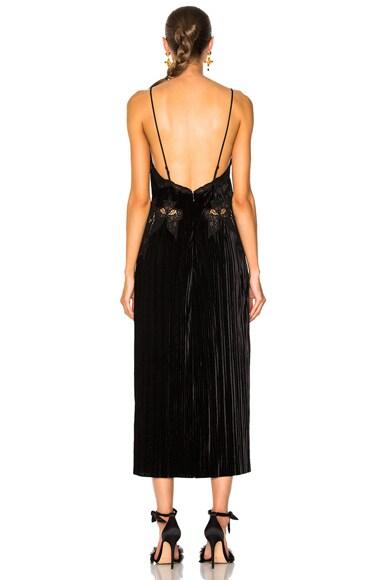 Crinkled Velvet Applique Deep V Midi Dress