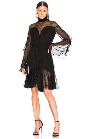 Gathered Silk Combo Layered Dress