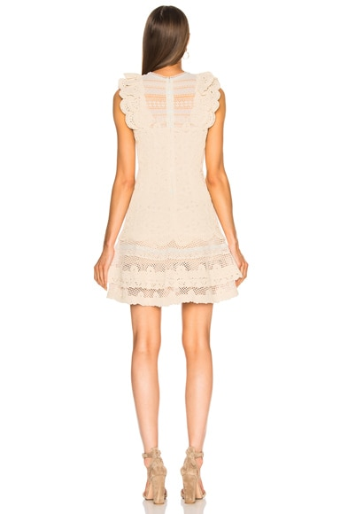 Macrame Ruffle Mini Dress