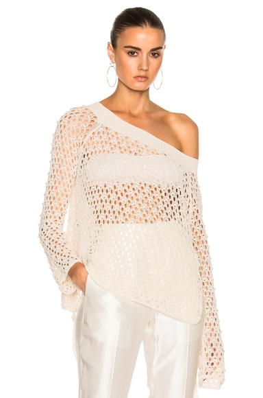JONATHAN SIMKHAI Cage Pearl Off Shoulder Top in Stone
