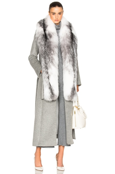 JONATHAN SIMKHAI Fox Collar Coat in Grey