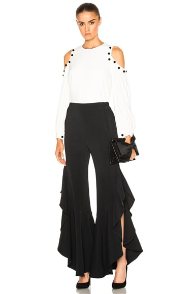 Side Ruffle Long Crepe Pant