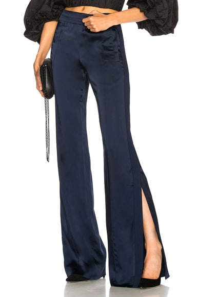 Combo Stitch Sateen Side Slit Pant